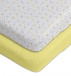 Gerber-2-Pack-Cotton-Knit-Fitted-Bassinet-Sheets-YellowWhite-Sheep-and-Stars-Design-0