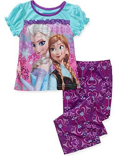 Disney-Frozen-Anna-and-Elsa-Short-Sleeve-2-Piece-Pajama-Set-Purple-Turquoise-3T-0