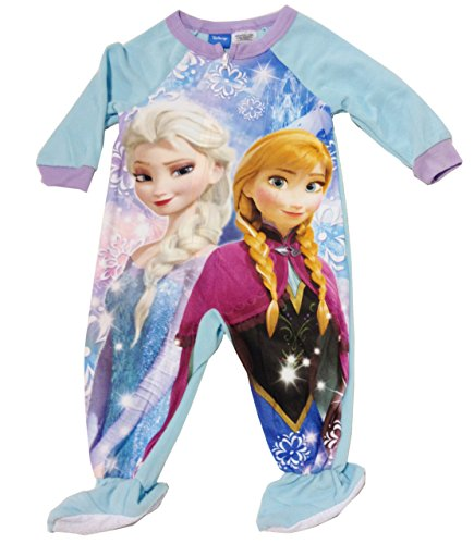 Disney-Frozen-Elsa-Anna-Sisters-Girls-Todder-Footed-Pajamas-5t-0