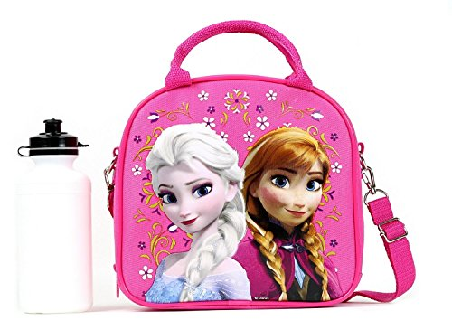 Disney-Frozen-Lunch-Box-Carry-Bag-with-Shoulder-Strap-and-Water-Bottle-PINK-0