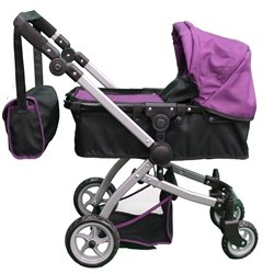 Babyboo-Deluxe-Doll-Pram-Color-PURPLE-BLACK-with-Swiveling-Wheels-Adjustable-Handle-and-Free-Carriage-Bag-9651B-PRP-0