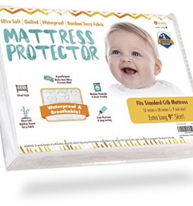Crib-Mattress-Protector-Waterproof-Pad-Cover-Ultra-Soft-Bamboo-Fitted-Sheet-with-Large-9-Skirt-Quilted-WasherDryer-Friendly-with-Stain-Protection-for-Baby-Bed-0