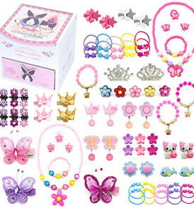 Elesa-Miracle-Little-Girl-Kids-Wood-Jewelry-Box-and-75-Pieces-Girl-Princess-Jewelry-Dress-Up-Accessories-Toy-Playset-Set-0