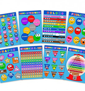 Laminated-Educational-Posters-for-Toddlers-Kids-Preschool-Kindergarten-Children-Learning-Kit-Set-of-8-Alphabet-Numbers-Days-of-The-Week-Months-Colors-Shapes-Feelings-Chart-0