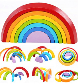 Lewo-Wooden-Rainbow-Stacking-Game-Learning-Toy-Geometry-Building-Blocks-Educational-Toys-for-Kids-Baby-Toddlers-Rainbow-0