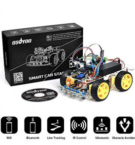 OSOYOO-Robot-Smart-Car-for-Arduino-DIY-Learning-Kit-with-Tutorial-Android-iOS-APP-WiFi-Bluetooth-IR-Modules-and-Line-Tracking-Ultrasonic-Sensors-Science-Fair-0