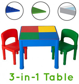 Play-Platoon-Kids-Activity-Table-Set-3-in-1-Water-Table-Craft-Table-and-Building-Brick-Table-with-Storage-Includes-2-Chairs-and-25-Jumbo-Bricks-Primary-Colors-0
