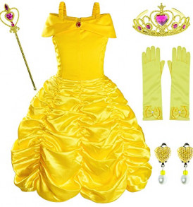 Princess-Belle-Costume-Birthday-Party-Fancy-Dress-Up-For-Girls-with-AccessoriesCrownWandEarringsGloves-3-4-Years105cm-0