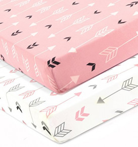 Stretchy-Fitted-Crib-Sheets-Set-Brolex-2-Pack-Portable-Crib-Mattress-Topper-For-Baby-Girls-BoysUltra-Soft-JerseyFull-StandardPink-White-Arrow-0