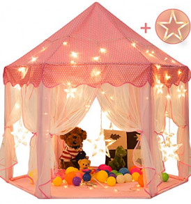 Sunnyglade-55-x-53-Princess-Tent-with-82-Feet-Big-and-Large-Star-Lights-Girls-Large-Playhouse-Kids-Castle-Play-Tent-for-Children-Indoor-and-Outdoor-Games-0