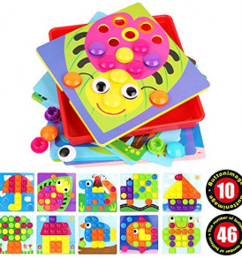 Umitive-Color-Button-Art-Mosaic-Pegboard-Toy-Set3D-Matching-Puzzle-Games-for-ToddlersEarly-Learning-Educational-Toy-0