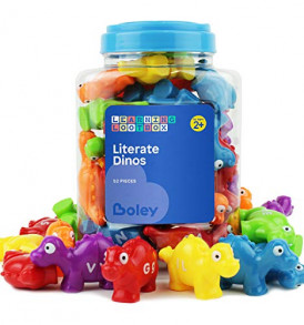 Boley-52-Piece-Alphabet-Dinosaurs-Educational-Dinosaur-Alphabet-Matching-Toy-Set-for-Kids-Children-Toddlers-Great-Learning-Tool-for-Toddlers-to-Learn-The-Alphabet-Bucket-Edition-0