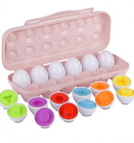 Hhyn-Toddler-Eggs-Toys-Preschool-Learning-Color-Shapes-Matching-Eggs-Set-Educational-Sorting-Recognition-Skills-for-Kids-Boys-Girls-Toddler-Games-12-Eggs-Pink-0