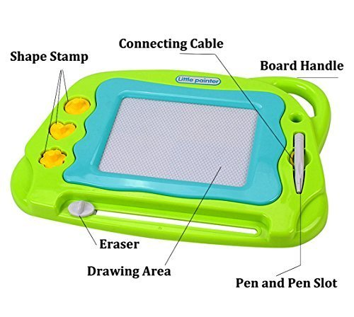 Magnetic-Drawing-Board-Mini-Travel-Doodle-Erasable-Writing-Sketch-Colorful-Pad-Area-Educational-Learning-Toy-for-Kid-Toddlers-Babies-with-3-Stamps-and-1-Pen-Green-0-0