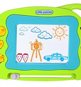 Magnetic-Drawing-Board-Mini-Travel-Doodle-Erasable-Writing-Sketch-Colorful-Pad-Area-Educational-Learning-Toy-for-Kid-Toddlers-Babies-with-3-Stamps-and-1-Pen-Green-0